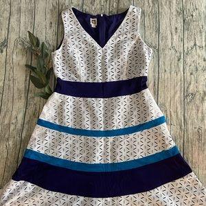 Anne Klein White Eyelet Dress Purple Accent Sz 12